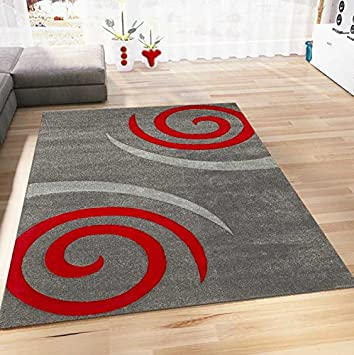 Teppich Modern Wohnzimmer Teppiche In Grau Rot Kreisel Muster Hoch Tief  Konturen Pflegeleicht Schadstoff Geprüft 120x170