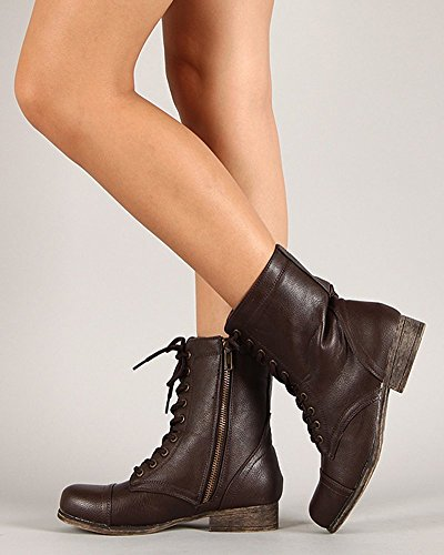 Bamboo Womens Surprise-13 Combat Boots Military Cuff Down Design Brown besHsFRX6M