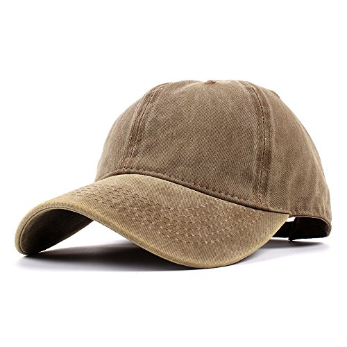 tage Washed Dyed Dad Hat Plain Cotton Twill Low Profile Adjustable Solid Colour Baseball Cap Strapback (Kakhi) ()