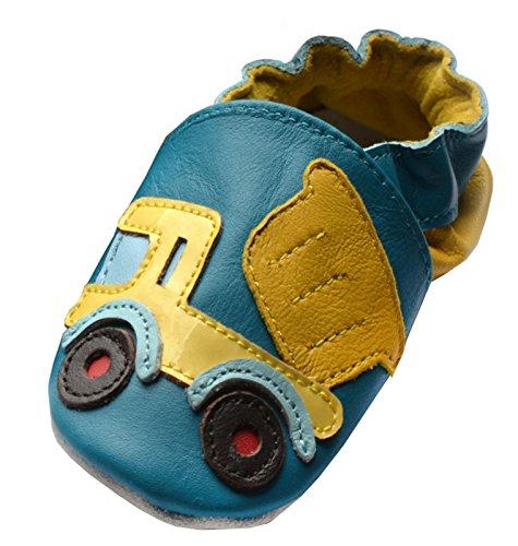 Jinwood designed by amsomo - DUMPER TRUCK blue - soft sole - Laster - Hausschuhe - Lederpuschen - Krabbelschuhe Blau