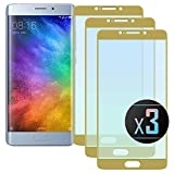 3 x Xiaomi Mi Note 2 (Gold) Screen Protector, NEVEQ Premium Tempered Glass Screen Protector for Xiaomi Mi Note 2 Full Screen Gold (5.7) 9H Hardness Skin Cover Protection.