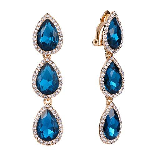 EleQueen Women's Gold-tone Austrian Crystal Teardrop Pear Shape 2.4 Inch Long Clip-on Dangle Earrings Turquoise Color