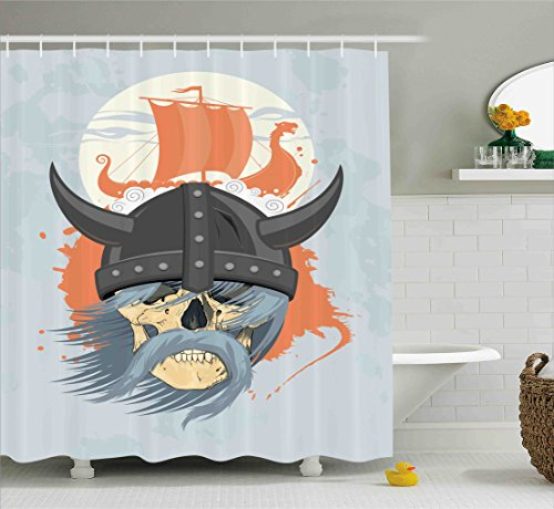 Viking Shower Curtain Set by Ambesonne, Cartoon Ghost Skull Nordic War Combat Norse Medieval Helmet with Horns Dragon Head Ship, Fabric Bathroom Decor with Hooks, 70 Inches, Orange Grey