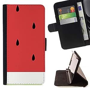 For HTC One M7 Case , Arte sandía Cortar la fruta sana- la tarjeta de Crédito Slots PU Funda de cuero Monedero caso cubierta de piel