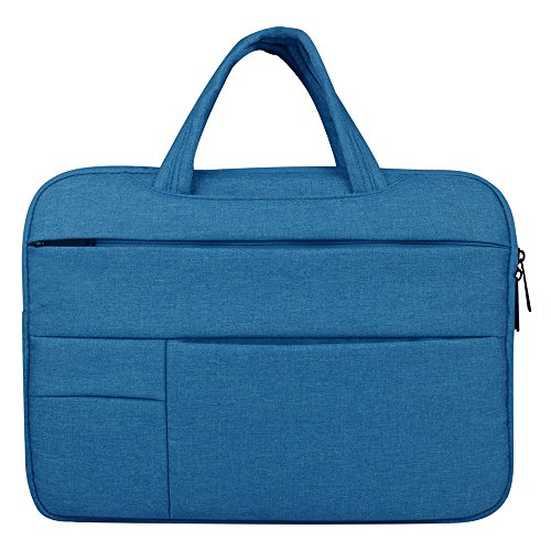 GloryShop 15 inch Laptop Sleeve Case Protective Bag Hand Bag Water Resistant Cover for Apple Macbook / Dell / HP / Lenovo / Samsung, Blue - Exclusive Multi Compartment Expandable Briefcase