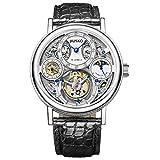 Jiusko Diamond - Men's Mechanical Tourbillon Luxury Skeleton Dress Watch - Sapphire - Genuine Alligator Black Leather Strap - 153