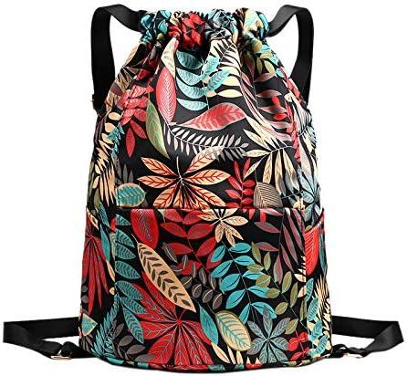 MaoXinTek Drawstring Backpack Unisex Sports Gym Bag With Dry Wet Separated Waterproof Fitness Rucksack for Men Women Kids School Travel Sport Swim