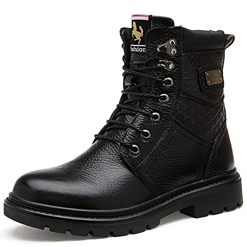 Taoffen Mens Warm Warm Boots Boots Chukka In Pelle Nero