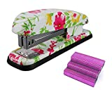 VIBRANCELAB Cute Heavy Duty Full Desktop Office Hand Stapler Set Standard Pretty Accessory with 1000 Red Staples Commercial Business Office Study Acrylic Stapler 15 Sheet Capacity to 25 Sheet Capacity