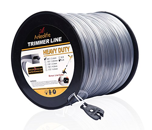 Anleolife 5-Pound Heavy Duty Square .095-Inch-by-1280-ft String Trimmer Line in Spool, with Bonus Line - Cutter Trimmer Bee