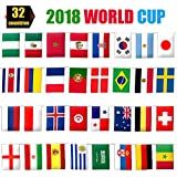 Yarssir 2018 FIFA World Cup String Flag Banner Bunting, Russia World Cup Top 32 Teams Flags for Fan Clubs KTV Sports Restaurants Game Night Decorations