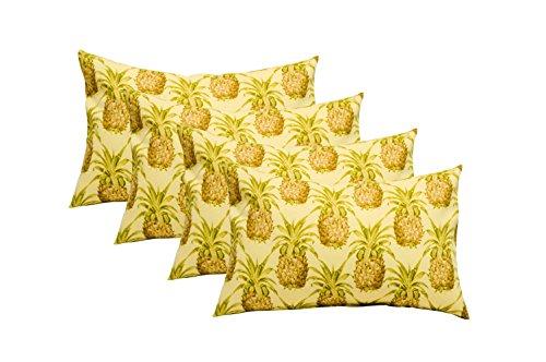 Resort Spa Home Decor Set of 4 Indoor/Outdoor Decorative Lumbar/Rectangle Pillows - Golden Yellow Green Tan Pineapple Grove Pattern (Golden Yellow Green)