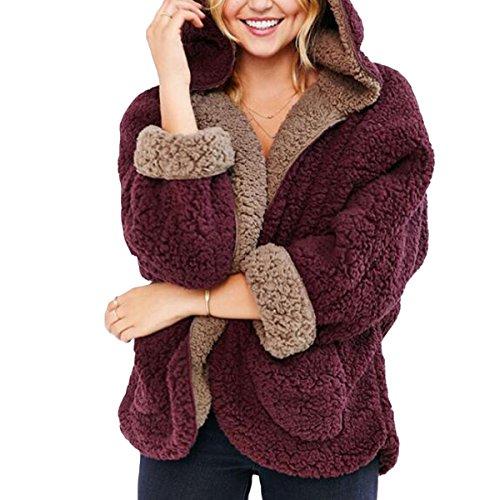 Hiver Manches Mode Manteaux Femmes Longues M avec Poche Deep en Coat Capuche Size Color Automne Peluche Cardigan Red x1Unwvn