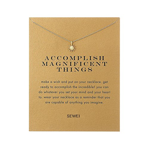 Starburst Adjustable Ring - SEWEI Wishbone Infinity Necklace Cross Angel Wing Friendship Necklace with Message Card Wish Card (Golden Starburst)