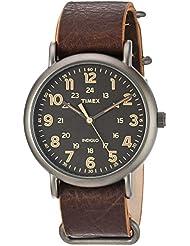 Timex Mens TW2P85800 Weekender 40 Titanium-Tone/Dark Brown Leather Slip-Thru Strap Watch