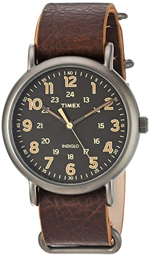 (Timex Men's TW2P85800 Weekender 40 Titanium-Tone/Dark Brown Leather Slip-Thru Strap Watch,Antique Black)