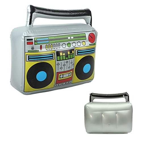 New Inflatable Radio Record Musical Boom Box 42.5*9*41cm 80s Fancy Decoration (Musical Boombox)