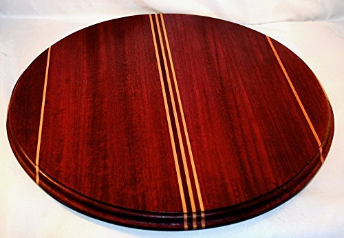 """Round Lazy Susan Table Centerpiece-Large Lazy Susan Wooden Breadboard With Beech Inlay Stripes-16"""" Lazy Susan Wooden Centerpiece Bread Board"""