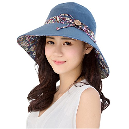HINDAWI Womens Sun Hat Summer Reversible UPF 50+ Beach Hat Foldable Wide Brim Cap, Blue