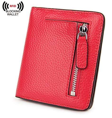 BIG SALE-AINIMOER Women's RFID Blocking Leather Small Compact Bifold Pocket Wallet Ladies Mini Purse with id Window (Red)