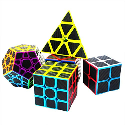 Fine Speed Cube Puzzle Gift Box, 2x2 3x3 Skew Cube Carbon Fiber Sticker Magic Cube Puzzle Toy Set of 5 (Colorful)