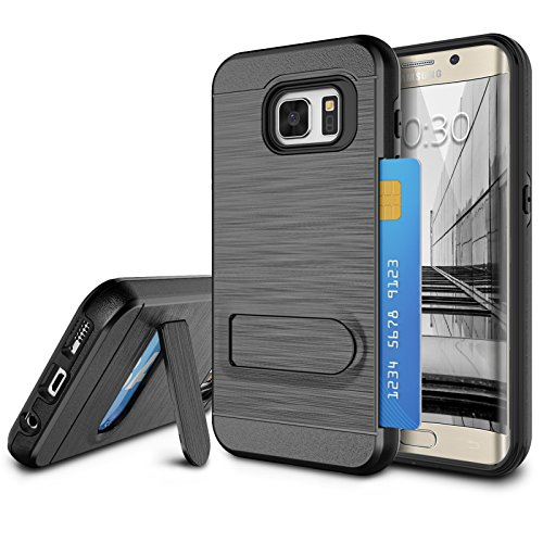 Galaxy S7 Edge Case, S7 Edge Card Holder Cover, Jeylly Black [Metal Satin] Card Holder with Kickstand Hybrid Dual Layer Hard Plastic + Soft TPU Drop Protection Case for Samsung Galaxy S7 Edge G935