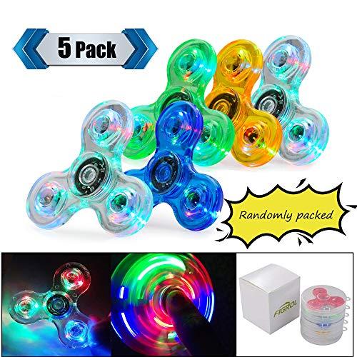 FIGROL LED Fidget Spinner, Clear Fidget Toy, Crystal Led Light Rainbow Toy Finger Hand Spinner-Kids(5 Pack)