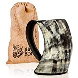 Original Viking Drinking Horn Cup Tankard By Thor Horn| Complete W/Authentic Medieval Burlap Gift Sack| Drink Beer Like A True Viking W/Our Horn Mug