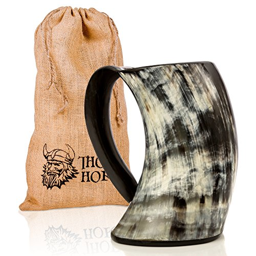Original Viking Drinking Horn Cup Tankard By Thor Horn| Complete W/Authentic Medieval Burlap Gift Sack| Drink Beer Like A True Viking W/Our Horn Mug -