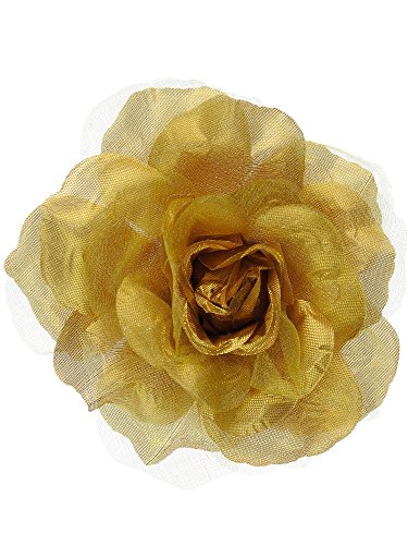 NYFASHION101 Women's Multifunction Rose Flower Sheer Petal Brooch Pin Hair Tie Clip, (Gold Flower Pin)