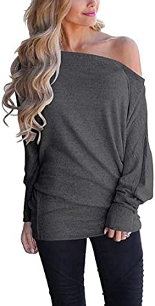 CLOUSPO Off Shoulder Tops for Women Casual V Neck Pullover Sweater Tops Batwing Long Sleeve