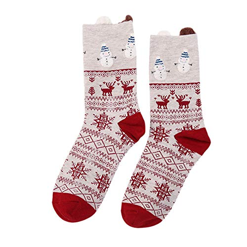 SuNiSER Big Christmas Socks Women Pashmina Print Snowman Elk Winter bobbysocks -