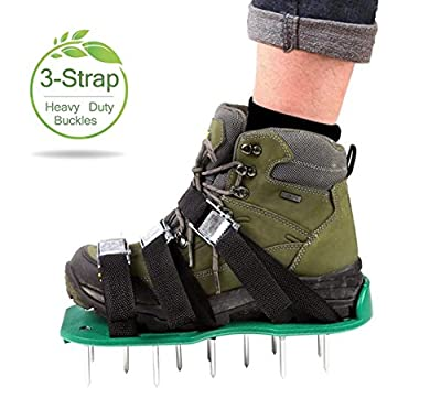 Lawn Aerator Shoes Set [Upgraded] Kitclan(TM) Spiked Sandals for Aerating Your Lawn or Yard with Heavy Duty Zinc Alloy Buckles and 3 Straps