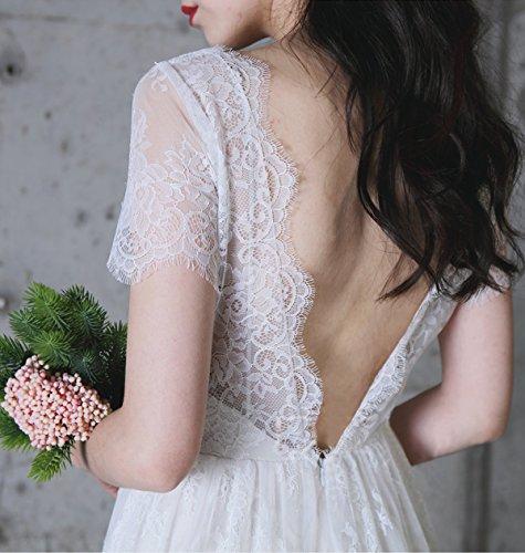 Borgogna Spose Con Con A Sera Di Pizzo Scollo Nozze Del Di Abito Per Telai I Promenade V Partito Bianco La Backless wStHUOx