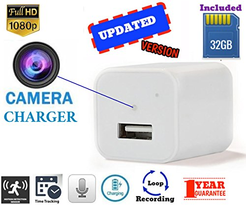 (1 Pack-White) MAIK White Mini Hidden Spy Camera Wall Charger | 2 in 1 Charger & Hidden Camera With Audio | Nanny Cam | Baby & Pet MonitoringCamera| Motion Detection |32GB Included |1080P HD|