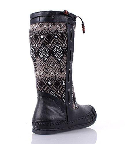 Bamboe Mode Faux Fur Interieur Casual Dames Mid-kalf Laarzen Flats Winter Schoenen Nieuw Zonder Doos Zwart
