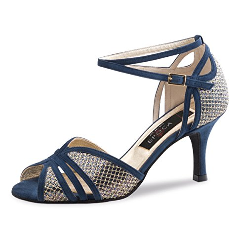 Nueva Epoca - Damen Tango/Salsa Tanzschuhe Donna - Velourleder/Brokat Blau/Multi - 7 cm