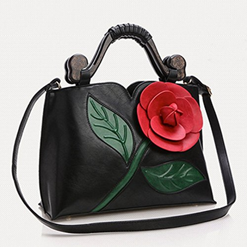 Bridal Top Party Handbags Tote White Purse Bags Shoulder Wedding Women Large 3D PU Flower Evening HAUTE Handle Bags Leather Black LA FxOTPwz4F