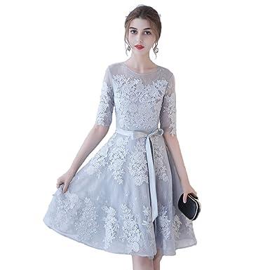 95d16ea6c0e88 Diki Home パーティードレス 結婚式 お呼ばれ レース切替 ワンピース 半袖 刺繍 花柄 結婚式