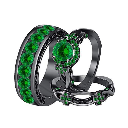 Emerald Round Cross - RUDRAFASHION Round Green Emerald 14K Black Gold Cross Engagement Wedding Band Bridal Trio Ring Set for Men's & Women's