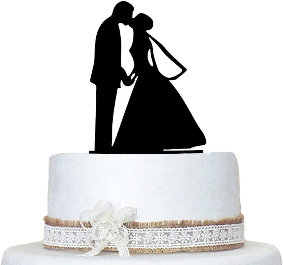 Musuntas Personalized Acrylic Bride  Groom With Cat Wedding Cake Topper
