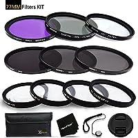 77mm Filters Set for 77mm Lenses and Cameras includes: 77mm Close-Up Macro Filters (+1 +2 +4 +10) + 77mm Filters Set (UV, FLD, CPL) + 77mm ND Filter Set (ND2 ND4 ND8) + 77mm Lens Cap + HeroFiber +MORE