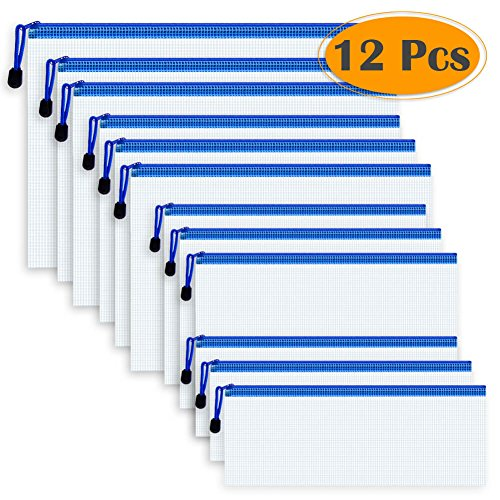 Selizo 12 Pcs Plastic Zip File Paper Document Folder Bags Storage Pouch With Assorted Sizes