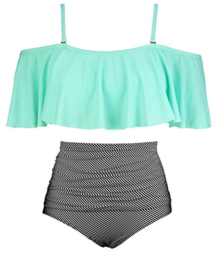 COCOSHIP Pale Green & Black Striated Vintage Ruched Bikini Set Flounce Falbala Top Tiered Ruched High Waist Swimsuit Swimwear 14 by COCOSHIP (Image #4)