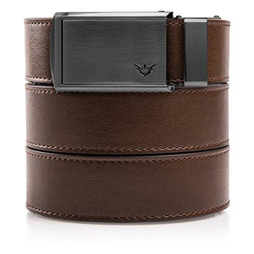 SlideBelts Men's Golf Ratchet Belt - Custom Fit - Mocha Brown with Winged Gunmetal Buckle (Vegan) from SlideBelts
