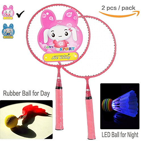 1 Pair of Pink Junior Badminton Racquets for Girls (LED Shuttlecock, Ball and Cover), Great Gift for Age 3 Above by Jieling
