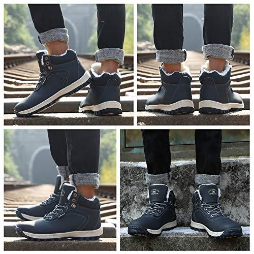 Allineato Stivaletti Abtop Da blu Boots Caloroso Piatto Sportive A7445 Escursionismo Neve Scarpe Pelliccia Uomo Caviglia Stivali Invernali edxBroC