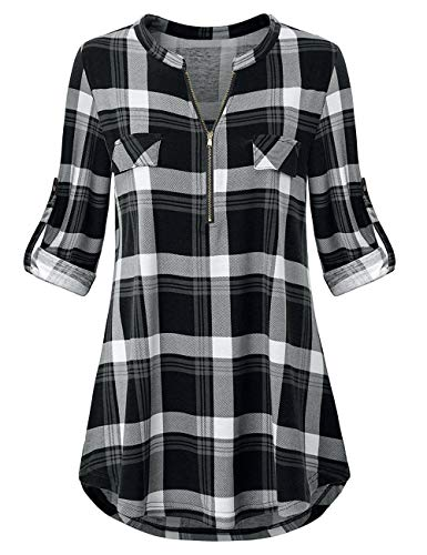Odosalii Womens Zip Up Plaid Tunic Blouse Rolled Up Sleeve Polo Top Check Shirts