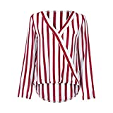 Forthery Women's Long Sleeve Striped Tunic T Shirt V Neck Office Work Blouse Tops(Red, Small)