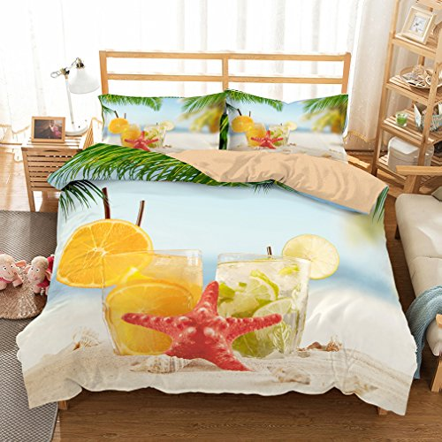 (APJJQ Holiday Tropical Island Bedding Duvet Cover Set,Red Starfish Lemon Juice Seashell Sand Beach Green Palm Tree Printed 3 Piece Bedding Set King Size for Adults,Teens and Kids,No Comforter)